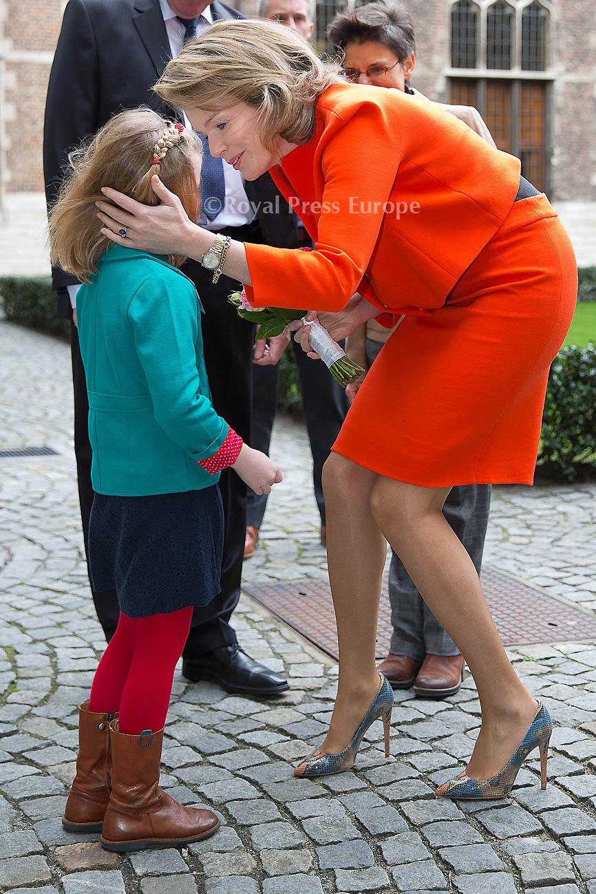 "Queen Mathilde in Antwerp at a seminar ""Friendly ATTAC: Bits of Help"""