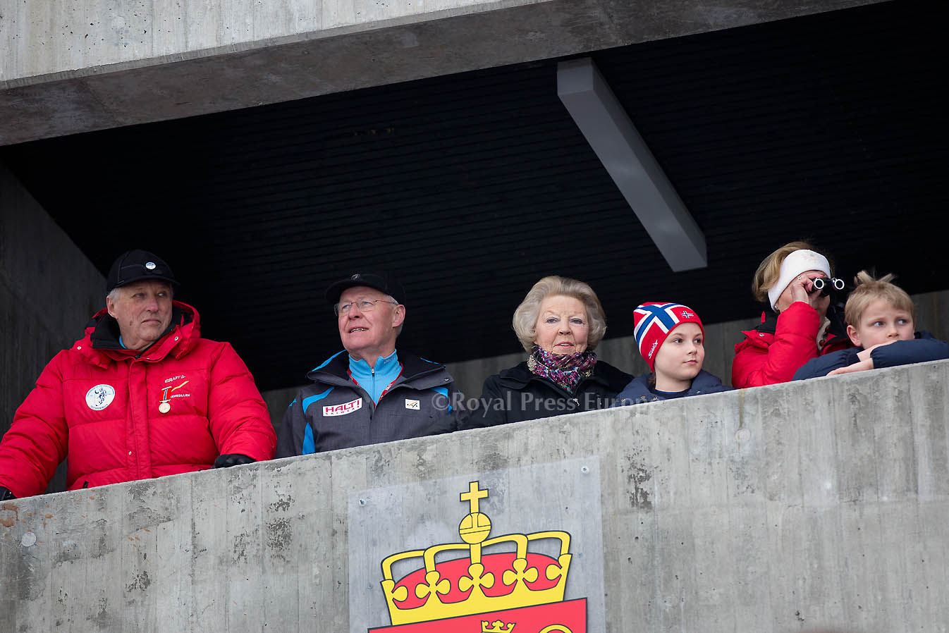 Princess Beatrix joins Norwegian King Harald, Queen Sonja at Holmenkollen Ski Jump Championships