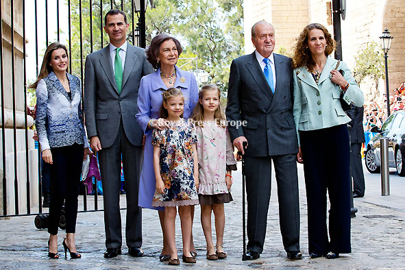 Spanish Royal Family Attend Easter Mass in Palma de Mallorca