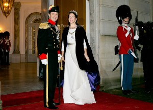Crown Princess Mary and Crown Prince Frederik of Denmark  Arrival of danish royal family at the New Years reception at Amalienborg Palace in Copenhagen, 01-01-2015  PHOTO: RPE Albert Nieboer / NETHERLANDS OUT