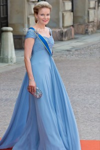 Queen Mathilde of Belgium arrives for the wedding of Prince Carl Philip and former model Sofia Hellqvist in Stockholm, Sweden, 13 June 2015. The couple, who have been dating since 2009, announced their engagement a year ago. Photo: Albert Nieboer/RPE/NETHERLANDS OUT