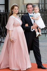 Princess Madeleine of Sweden, Mr. Chris O'Neill and Princess Leonore arrives for the wedding of Prince Carl Philip and former model Sofia Hellqvist in Stockholm, Sweden, 13 June 2015. The couple, who have been dating since 2009, announced their engagement a year ago. Photo: Albert Nieboer/RPE/NETHERLANDS OUT