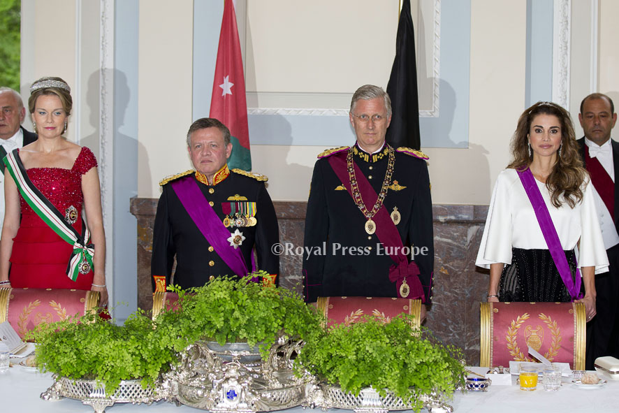 King Abdullah II and Queen Rania of Jordan at the Royal Palace in Brussels