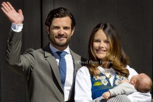 Prince Carl Philip and Princess Sofia with their newborn baby Alexander