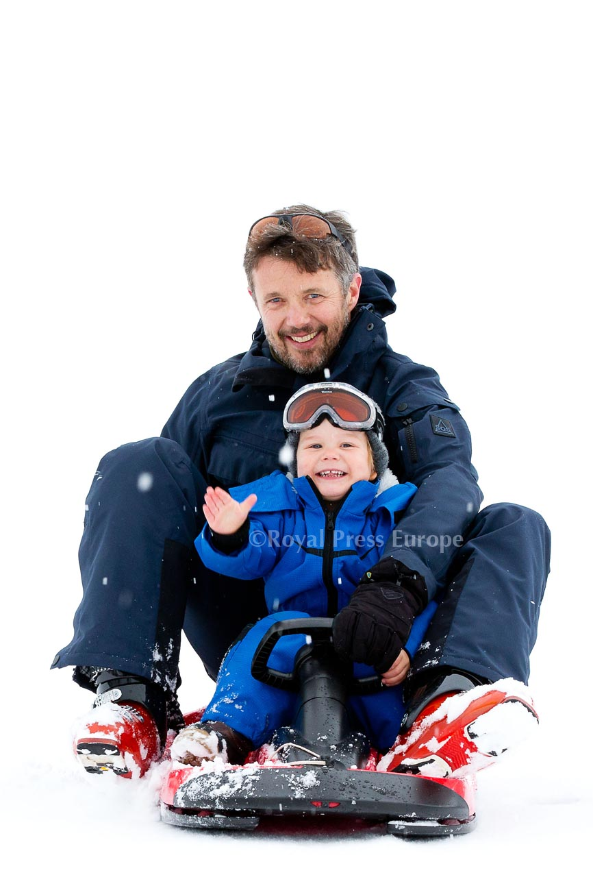 Danish Crown Prince Frederik with Family in Verbier