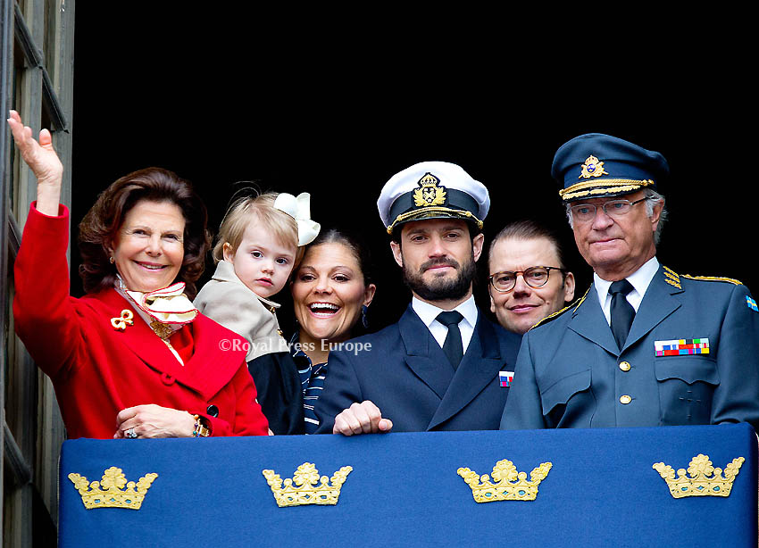 Swedish Royal Family Celebrates 68th Birthday of King Carl Gustaf at Royal Palace in Stockholm