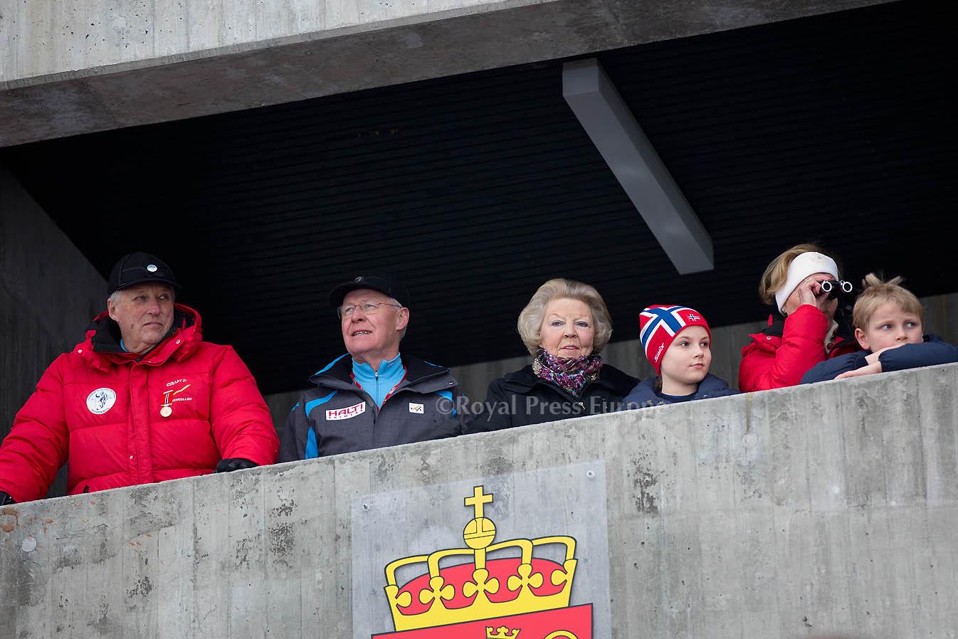 Princess Beatrix joins Norwegian King Harald, Queen Sonja at Holmenkollen Ski Jump Championships