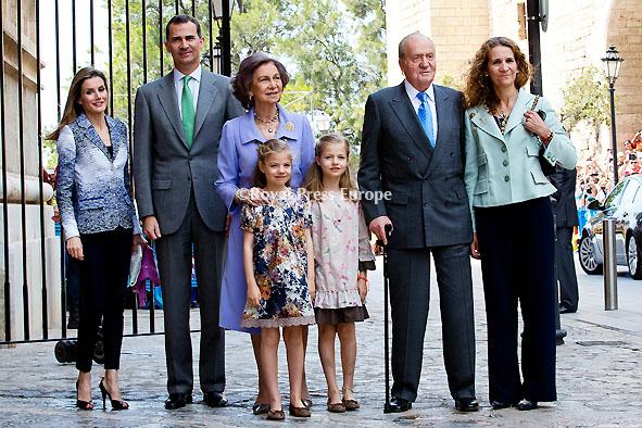 Spanish Royal Family Attend Easter Mass in Palma de Mallorca