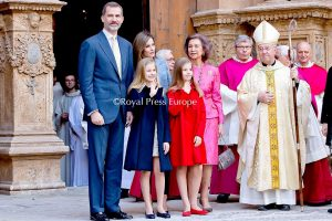Spanish Royals Attend Easter Mass in Mallorca Spain
